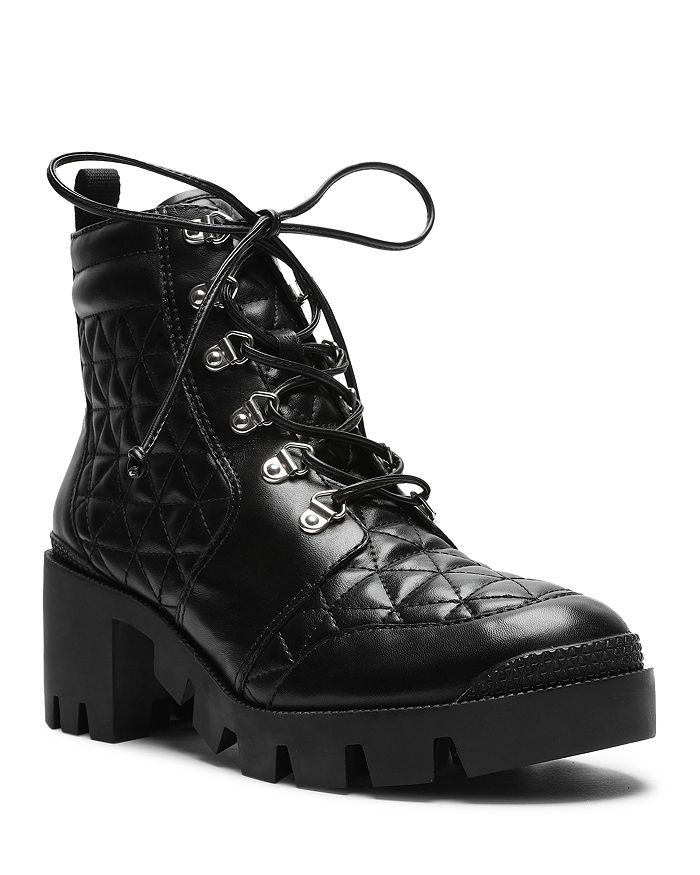SCHUTZ - Women's Cory Quilted Leather Combat Booties