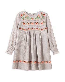 Peek Kids - Girls' Shiloh Embroidered Metallic Striped Dress - Little Kid, Big Kid