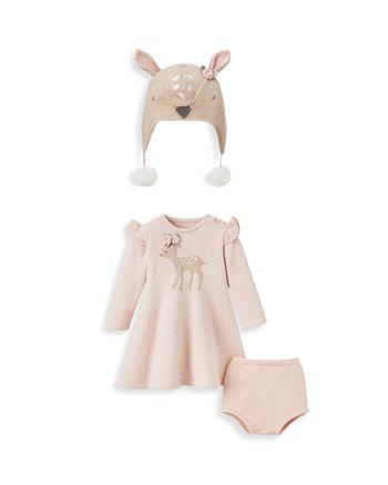 Elegant Baby - Girls' 2-Piece Knit Fawn Dress & Fleece Hat Set - Baby