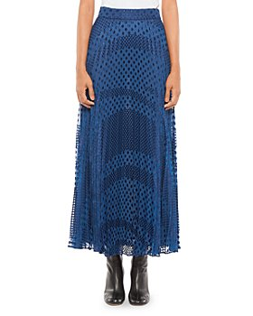 Armani - Pleated Devore Dotted Skirt
