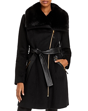 Via Spiga Kate Belted Faux Fur Trim Coat-Women