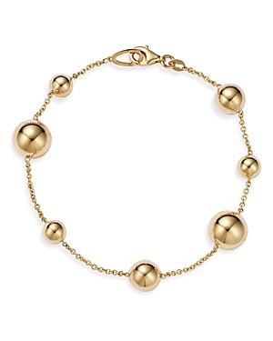 14K Yellow Gold Multi Bead Chain Bracelet