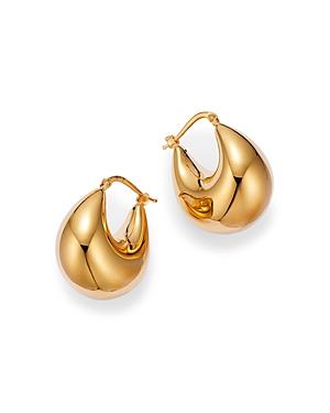 14K Yellow Gold Wide Tapered Hoop Earrings