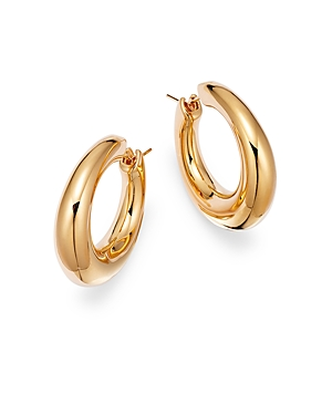 14K Yellow Gold Tapered Tubular Hoop Earrings