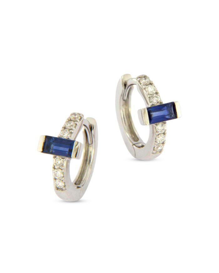Bloomingdale's Blue Sapphire & Diamond Huggie Hoop Earrings in 14K White Gold - 100% Exclusive    Bloomingdale's