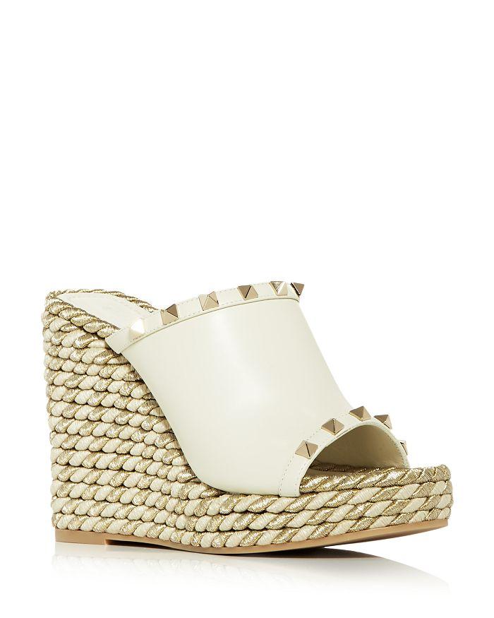Valentino Garavani - Women's Rockstud Torchon Platform Wedge Espadrille Slide Sandals