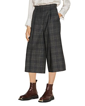 Sandro - Anthe Wide Leg Cropped Plaid Pants