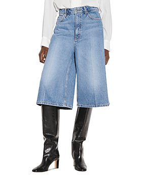 Sandro - Vina Cropped Wide Leg Jeans in Blue Jeans