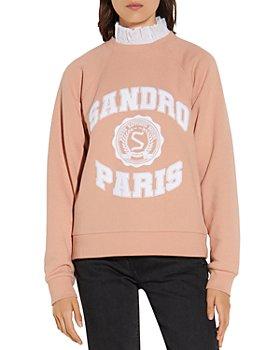 Sandro - Blason Ruffled Collar Layered-Look Sweatshirt