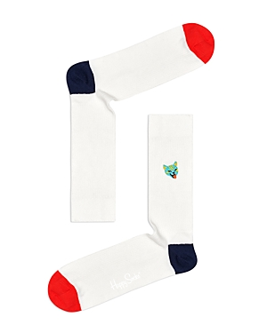 Ribbed Embroidered Cat Socks