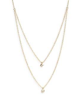 "Zoë Chicco - 14K Yellow Gold Diamond Princess & Round Layered Pendant Necklace, 16-18"""