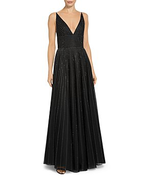 St. John - English Tulle V Neck Sequin Detail Gown