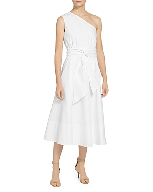 St. John GLAZED STRETCH POPLIN ONE SHOULDER DRESS