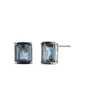 Ralph Lauren - Blue Stone Stud Earrings in Silver Tone