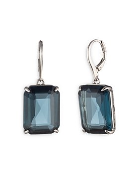 Ralph Lauren - Blue Stone Drop Earrings in Silver Tone
