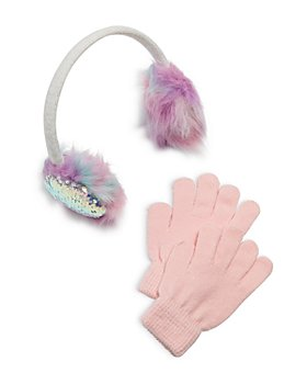 Capelli - Girls' Rainbow Faux Fur Earmuffs & Gloves Set - Little Kid, Big Kid