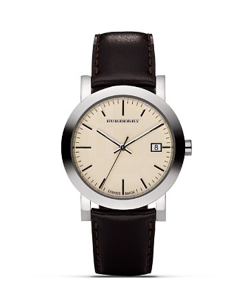 $Burberry Cream Watch with Brown Leather Strap, 38mm - Bloomingdale's