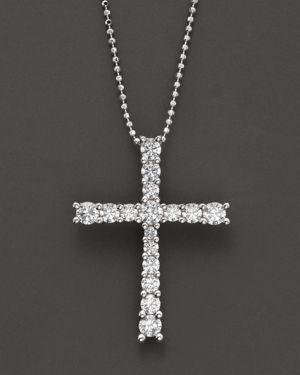 Diamond Cross Pendant in 14 Kt. White Gold, 1.0 ct. t.w.