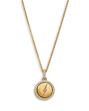Nadri Adore Cubic Zirconia Lightning Bolt Medallion Pendant Necklace in 18K Gold Plate, 16-18