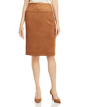 T Tahari - Faux Suede Pencil Skirt