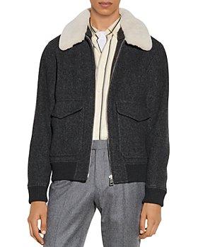 Sandro - Chevron Wool Aviator Jacket