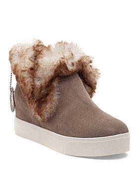 J/Slides - Women's Sean Faux Fur Trim Waterproof Sneaker Booties