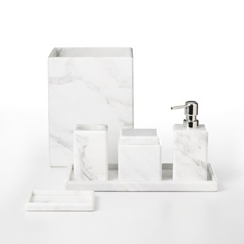 Copper and marble bathroom accessories