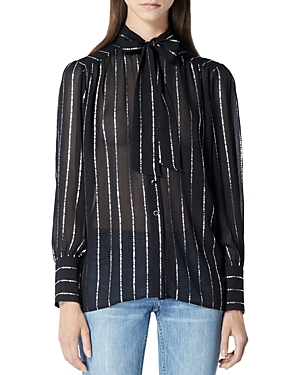 The Kooples STRIPED BOW NECK TOP