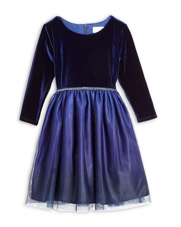 US Angels - Girls' Velvet Long Sleeve Dress - Little Kid