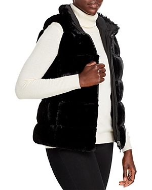 Via Spiga Reversible Grooved Faux Fur Vest-Women