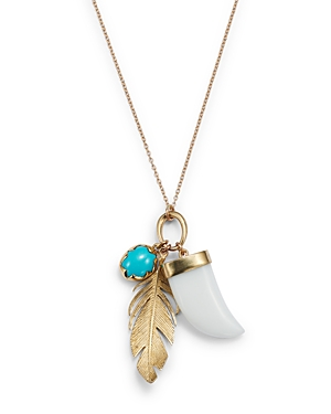 14K Yellow Gold White Agate & Turquoise