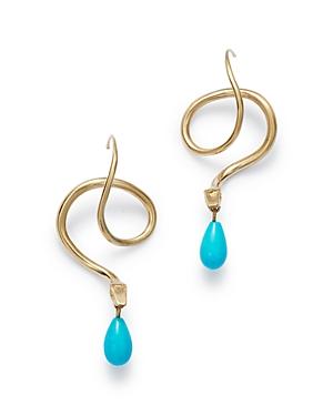 14K Yellow Gold Diamond & Turquoise Serpent Drop Earrings