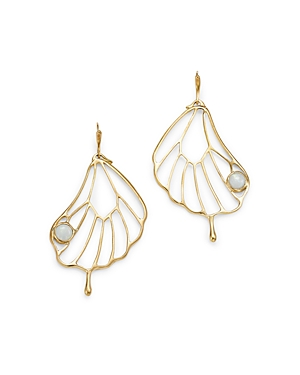 14K Yellow Gold Opal Accent Pampion Wing Drop Earrings