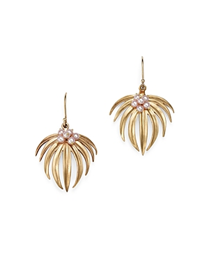 14K Gold Curled Fan Palm Earring With Pearl Accents