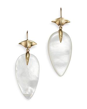 14K Yellow Gold Mother of Pearl Arrowhead Drop Earrings