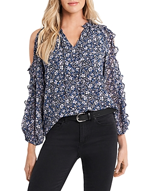 Image of 1.state Chateau Floral Print Cold Shoulder Top
