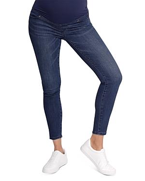 Maternity Crossover Panel Skinny Jeans in Indigo