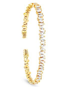 SUZANNE KALAN - 18K Yellow Gold Diamond Fireworks Flexible Bangle Bracelet