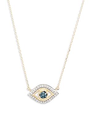 Adina Reyter 14K YELLOW GOLD WHITE & BLUE DIAMOND TINY EVIL EYE PENDANT NECKLACE, 16