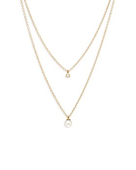 Zoë Chicco - 14K Yellow Gold Pearls Cultured Freshwater Pearl & Diamond Layered Pendant Necklace, 16-18""