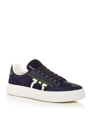 Salvatore Ferragamo - Men's Embroidered Gancini Low Top Sneakers