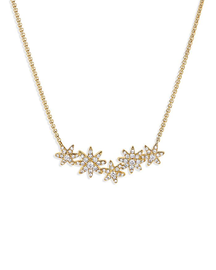"""David Yurman - Starburst Cluster Station Necklace in 18K Yellow Gold with Diamonds, 17"""""""
