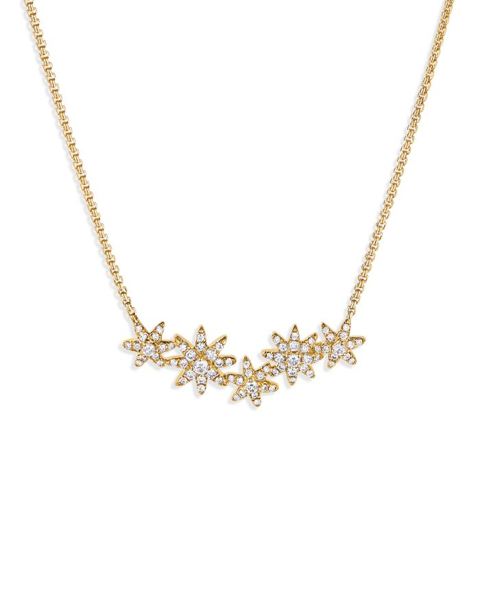 """David Yurman Starburst Cluster Station Necklace in 18K Yellow Gold with Diamonds, 17""""    Bloomingdale's"""