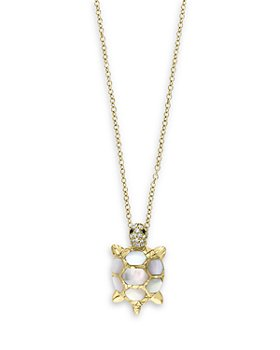"""Bloomingdale's - Mother of Pearl & Multicolor Diamond Tortoise Pendant Necklace in 14K Yellow Gold, 18"""" - 100% Exclusive"""