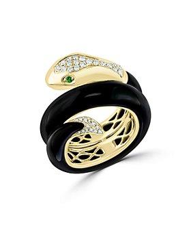 Bloomingdale's - Onyx, Tsavorite & Diamond Snake Ring in 14K Yellow Gold - 100% Exclusive
