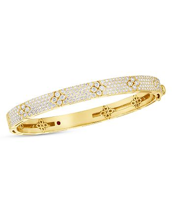 Roberto Coin - 18K Yellow Gold Love in Verona Diamond Flower Bangle Bracelet