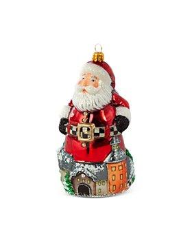 Mackenzie-Childs - Aurora Village Santa Glass Ornament