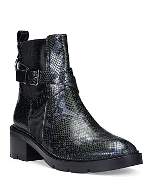 Donald Pliner WOMEN'S SAVVY SNAKE EMBOSSED LEATHER BOOTIES