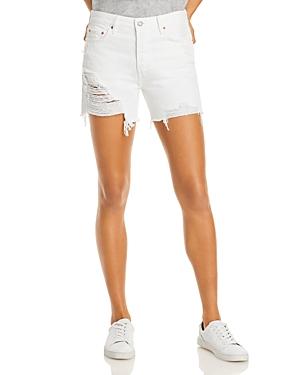 Jourdan Cotton Ripped Denim Shorts in White Mustang