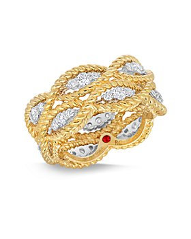 Roberto Coin - 18K Yellow & White Gold New Barocco Diamond Braid Statement Ring